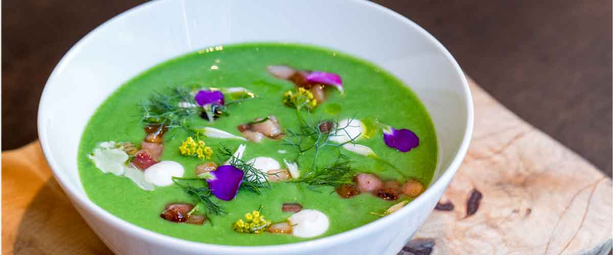 Recipe sweet english pea soup with crme frache and maple bacon recipe forumfinder Images